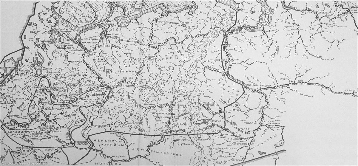 Карта Севера Руси с указанием